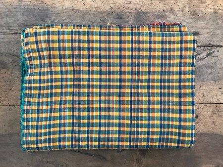 Auntie Oti Cotton Lungi Shawl - Yellow Check