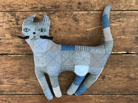 Thompson Street Studio Patchwork Pillow - Denim Kitty