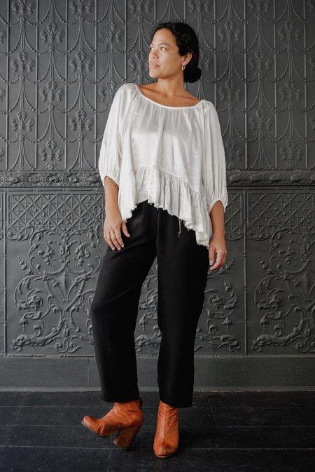 Raquel Allegra Satin Peasant Top - Ivory Pebble