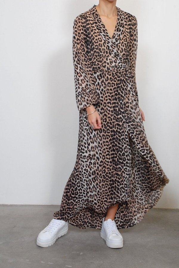 6460c508 Ganni Printed Georgette Wrap Dress - Leopard | Garmentory
