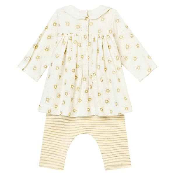 76acefa30 KIDS Petit Bateau Baby Dress With Attached Leggings - White With Gold  Sparkles And Stripes on Garmentory