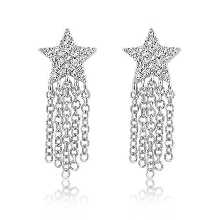 J. Luu Diamond Star Fringe Earring - 14k WHITE GOLD