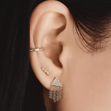 J. Luu Diamond Triangle Fringe Earrings - 14k Yellow Gold