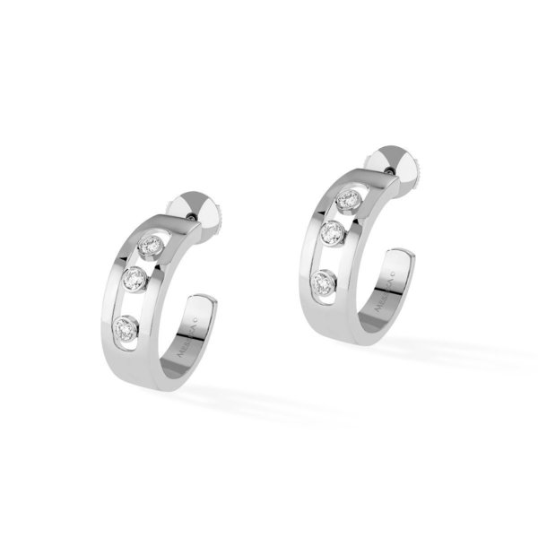 8d00ee479aff7 Messika Move Hoop Earrings - 18k White Gold with Diamonds on Garmentory