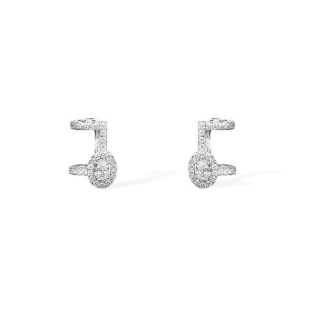 Messika Pavé Glam'Azone Diamond Earrings - 18k White Gold with Diamonds