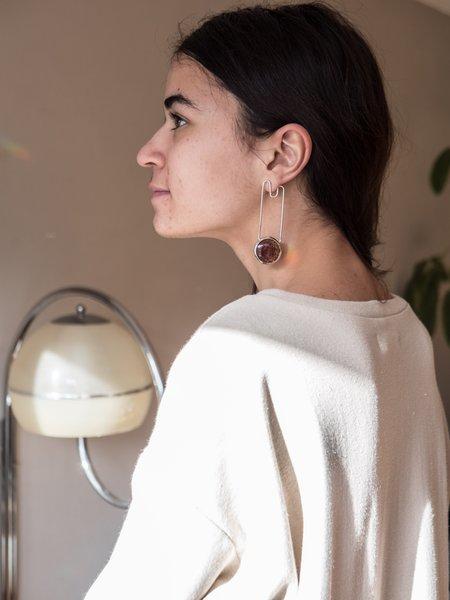 Anne Dahl Agate Long Drop Stud Earrings