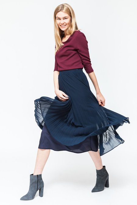 Sixth June Parisiennes Long Pleated Skirt - Navy