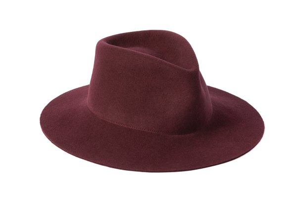 Clyde Pinch Wool Hat - Burgundy
