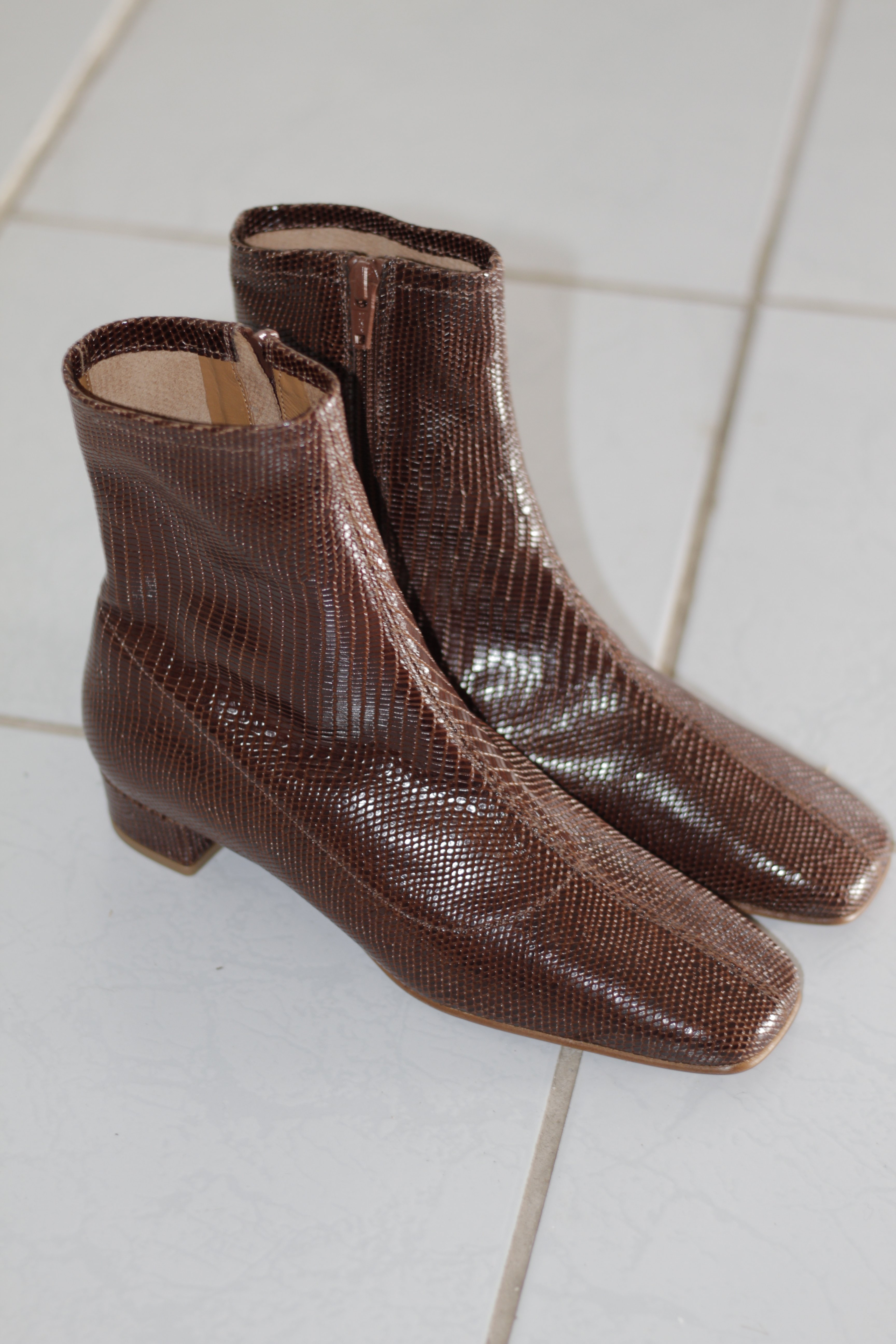 7403146db21 BY FAR Este Lizard Embossed Leather Boots - Brown