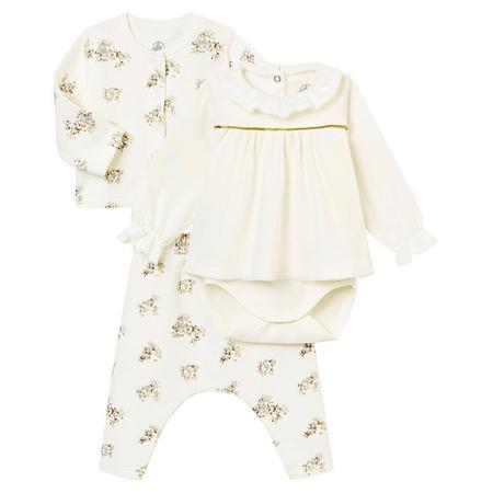KIDS Petit Bateau Baby Three Piece Set Cardigan, Pants And Bodysuit - White With Grey Branches
