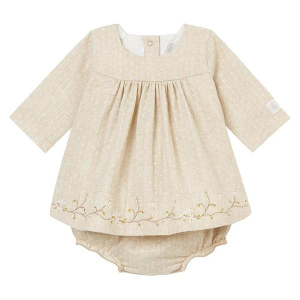 0ae1372c979cf7 KIDS Petit Bateau Baby Two Piece Set Dress And Bloomers - Taupe Brown With  White Dots