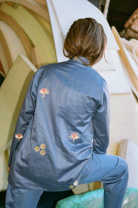 100% SILK Cintemani Suit Blazer - Blue