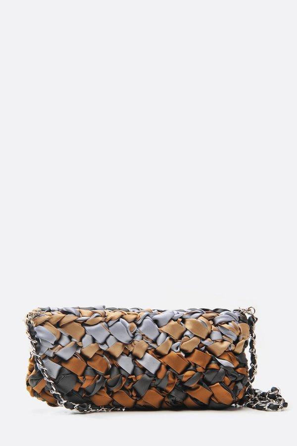 66f424676b2 Lorenza Gandaglia Ribbon Clutch with Chain Strap - Brown Tones ...