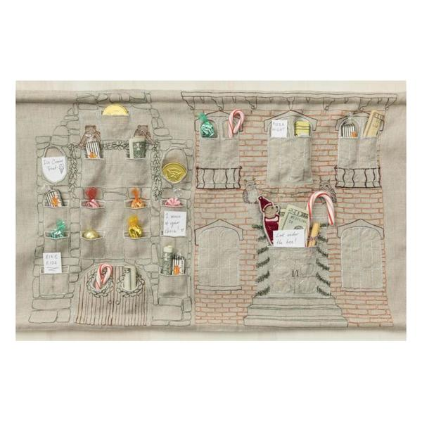 Kids Coral and Tusk Embroidered Advent Calendar Wall Hanging