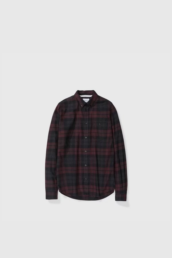 6a07314286 Norse Projects Anton Flannel Check - Eggplant Brown