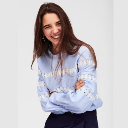 Tara Jarmon Striped Cotton Top - Light Blue