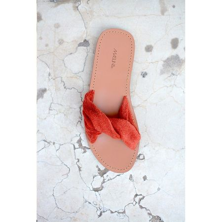 Maslin & Co Pleate Sandal Slides - Rust