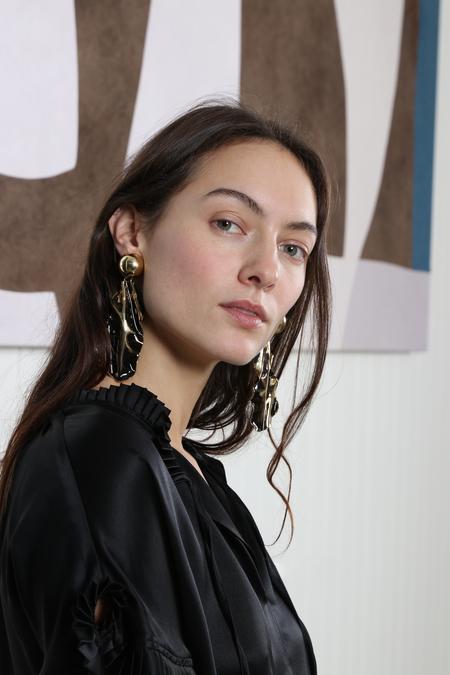 Rachel Comey Collision Earrings - Black Mixed Metal