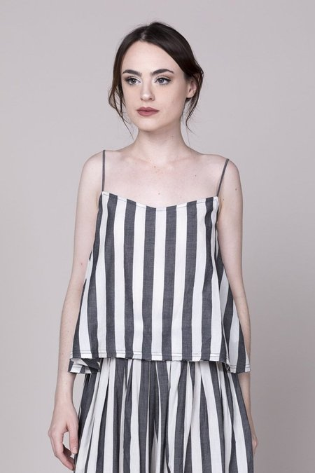 Anaak Akari Top - Grey/White Stripe