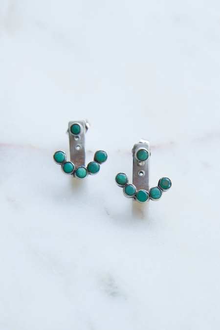 Jane Diaz NY Stone Hugger Earrings - Chrysoprase