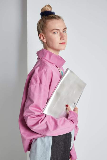 ARA Handbags Fold Over Clutch - Silver