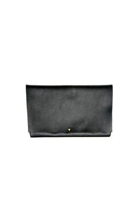 ARA Handbags Fold Over Clutch No. 1 (Black Oil Tanned)