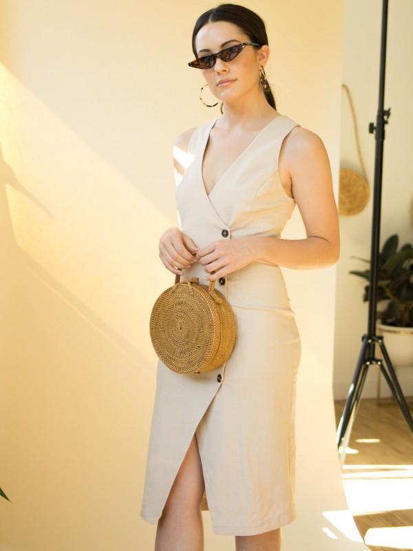 ASTR The Label Demi Button Midi Dress - Natural