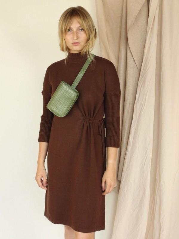 Jovonna Mock Neck Sweater Dress with Cinched Side - Brown
