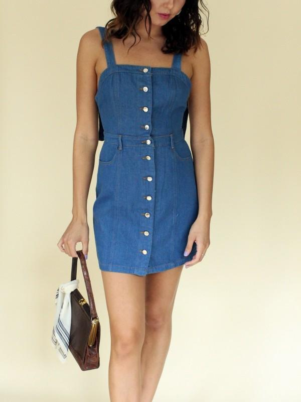 Wild Belle Button Up Jumper Dress - Denim