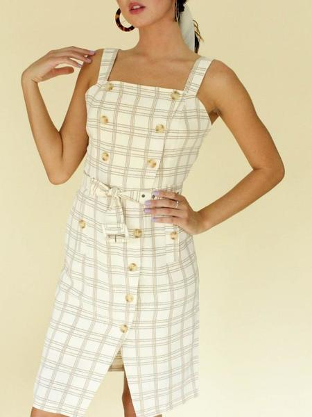 J.O.A. Button Belted Trench Dress - Plaid