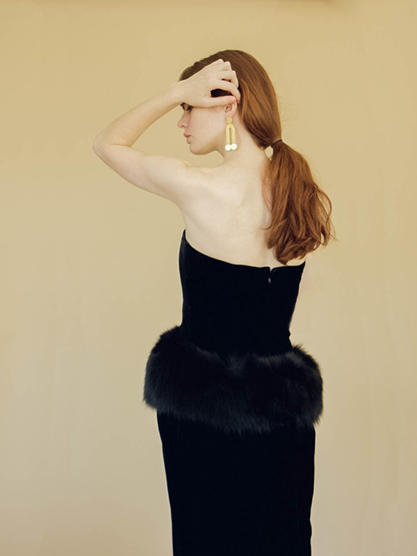 Bogatte Vintage Velvet & Fox Fur Strapless Dress - BLACK