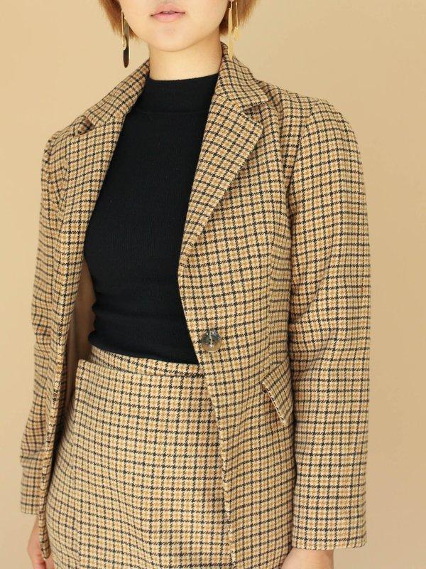 62f72cd1af Jovonna Checkered Wool Blazer - YELLOW   Garmentory