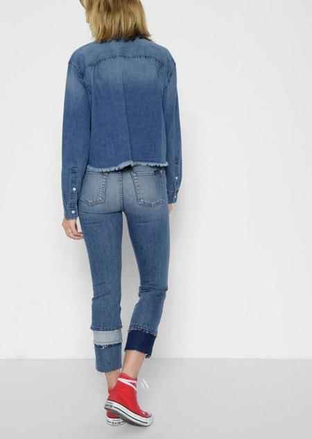 7 For All Mankind Edie with Multi Fray Cuff Jeans - Vintage Blue