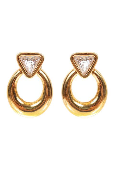 Mode Marteau Vintage Swarovski Hoop Earrings