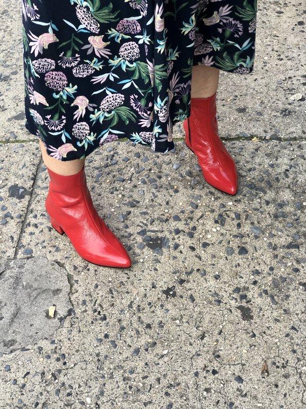 Vagabond Mya Patent Boots - Red