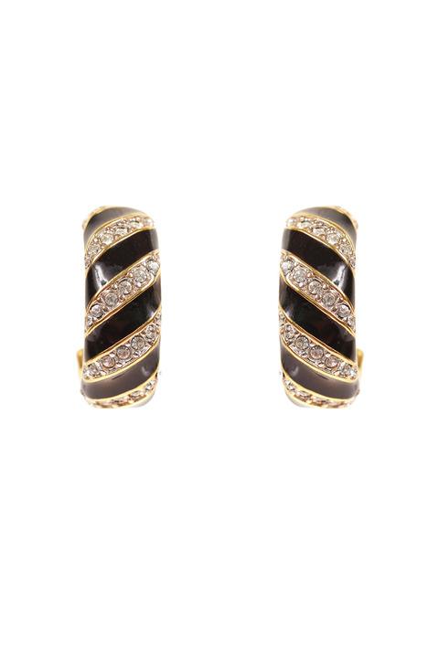 Mode Marteau Vintage Swarovski Half-Hoop Earrings