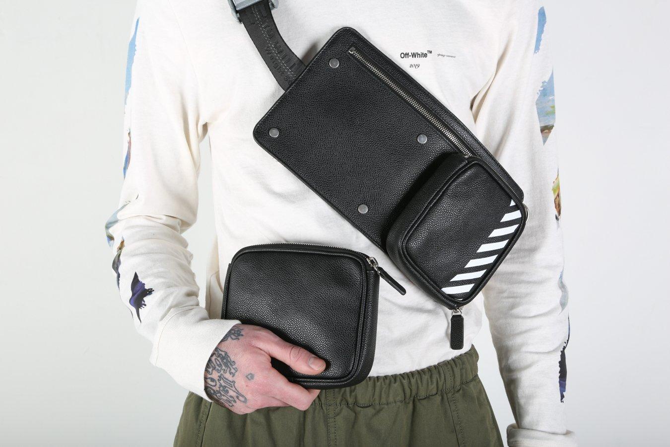 ad07012a7 Off-White c/o Virgil Abloh Diagonal Hip Bag - Black/White | Garmentory