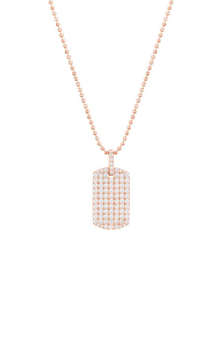 Carbon & Hyde Diamond Dog Tag Necklace - Rose Gold