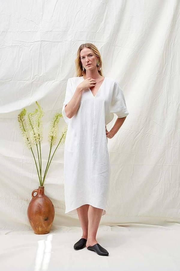 bdbf4e619 Rachel Craven Long V Neck Linen Caftan - White   Garmentory