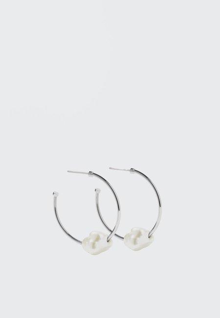 hidden Baroque Hoop Earrings - silver