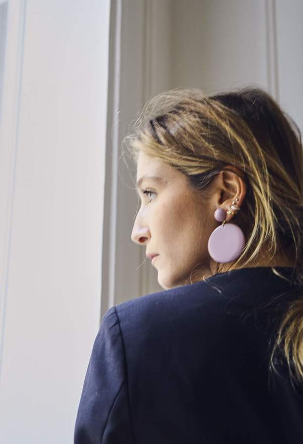 Bird on A WIRE Joanna Taupe Disc Earrings