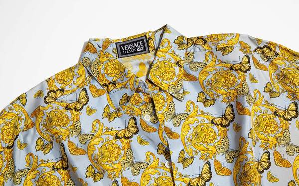 a86b3410 Vintage Kindred Black Gianni Versace 1990's Silk Butterfly Print Shirt.  $750.00
