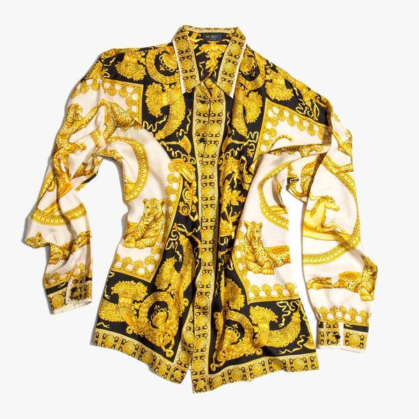 Vintage Kindred Black Gianni Versace Iconic 1990 s Silk Baroque Print Shirt e2d254805e382
