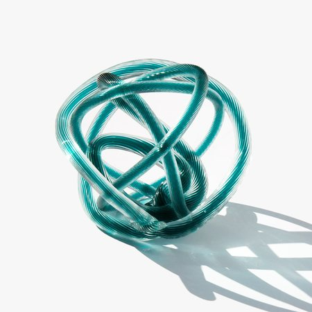 Vintage Kindred Black Mid Century Glass Knot Sculpture - Turquoise