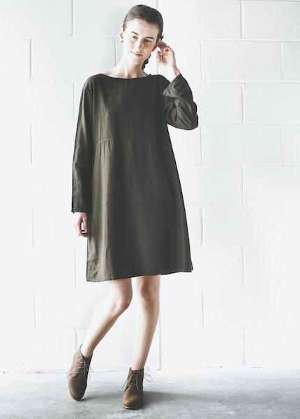 Me & Arrow  LS Basic Dress   Olive