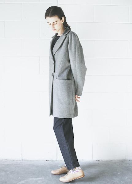 Sunja Link Grey Balmaccan Coat