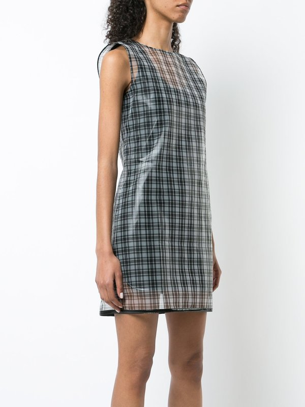 HELMUT LANG silk printed Dress - Black checked