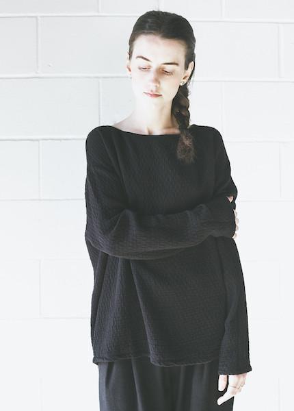 Black Crane Quilted Wide Sweatshirt in Black