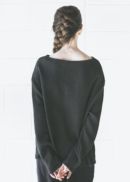 Black Crane Quilted Wide Sweatshirt in Forest