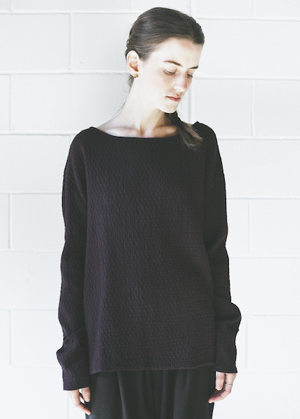 Black Crane Quilted Wide Sweatshirt | Purple